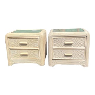 Vintage Coastal Cerused Pencil Reed Nightstands - a Pair For Sale