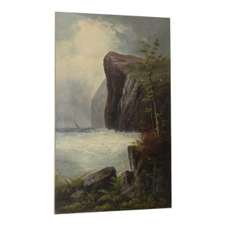 Rugged Western Coastal Landscape Painting Signed T. Hill C.1900 For Sale