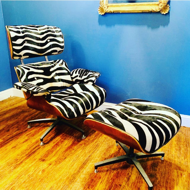 Modern Custom Zebra Hide Eames Style Lounge Chair and Ottoman For Sale - Image 12 of 12