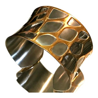 1980s Mid-Century Modern Silver/Gold Bangle Cuff Bracelet For Sale