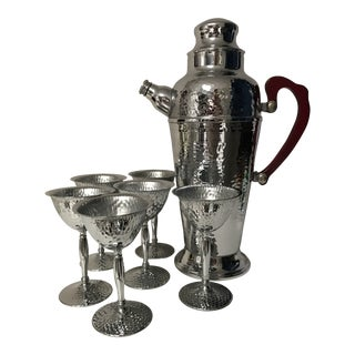 1930s Art Deco Hammered Stainless Chrome and Red Bakelite Cocktail Set - 7 Pieces