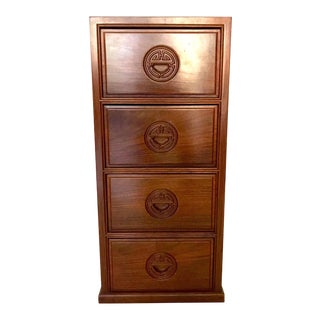 Vintage Ming Style Solid Rosewood Chinese Long Life Chest of Drawers or Lingerie Storage Cabinet For Sale