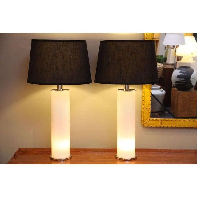 Sleek Italian Nickel & Acrylic Column Table Lamps - Image 2 of 7