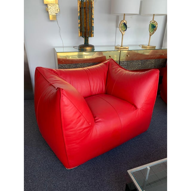 1970s Le Bambole Armchairs Red Leather by Mario Bellini for B&b Italia For Sale - Image 12 of 13
