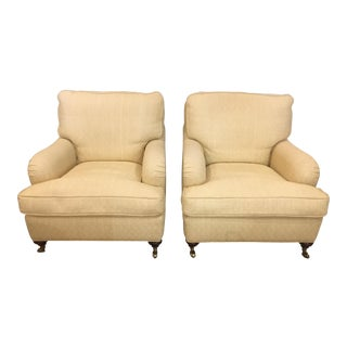 English Club Chairs in Woven Fabric With Down Seats - A Pair For Sale