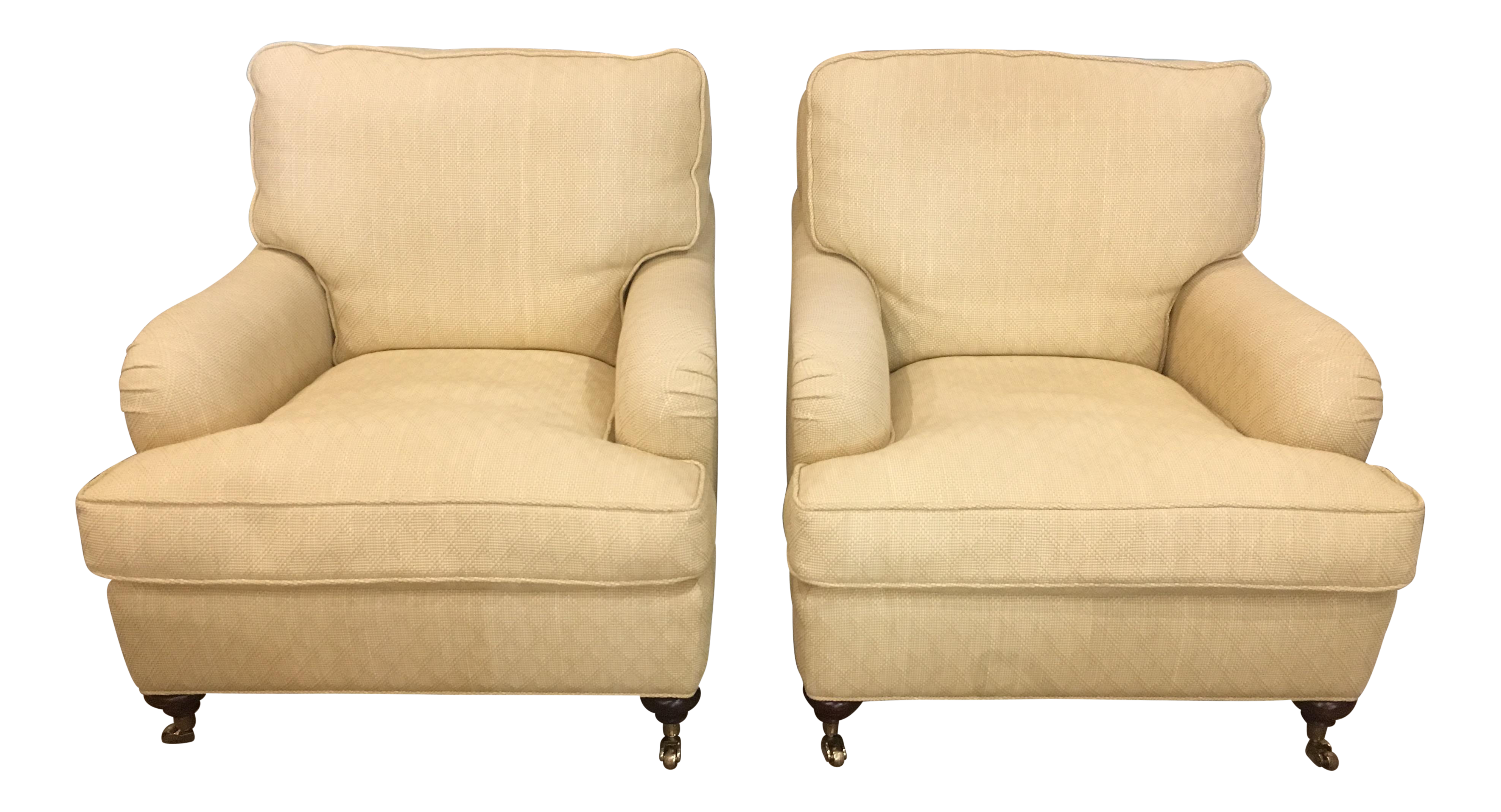 English Club Chairs In Woven Fabric With Down Seats   A Pair