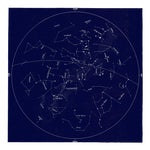 Square Vintage Minimal Star Map With Constellations - Navy Blue