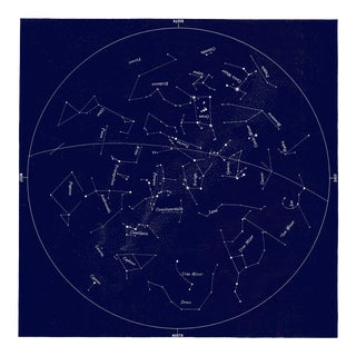 Square Vintage Minimal Star Map With Constellations - Navy Blue For Sale