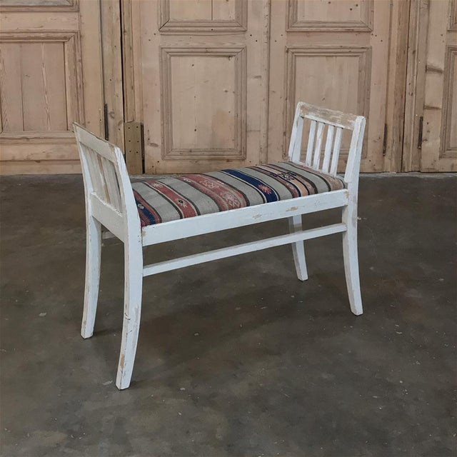 Gray Pair 19th Century Antique Swedish White Painted Stools With Ikot Upholstery For Sale - Image 8 of 11