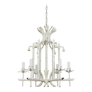 Mid 20th Century White Tole Bamboo Chandelier For Sale