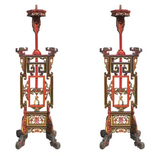 Freestanding Handcarved Chinese Candlestick Holder, Pair For Sale