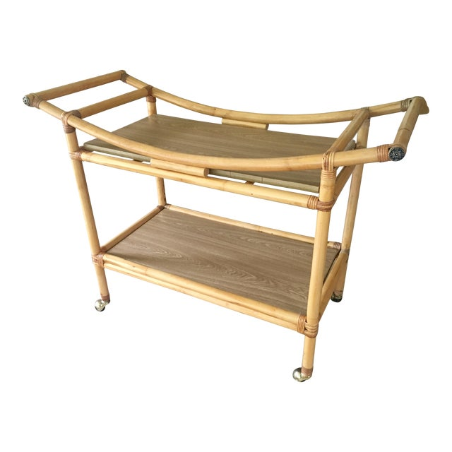 Mid-Century Bamboo Bar Cart For Sale