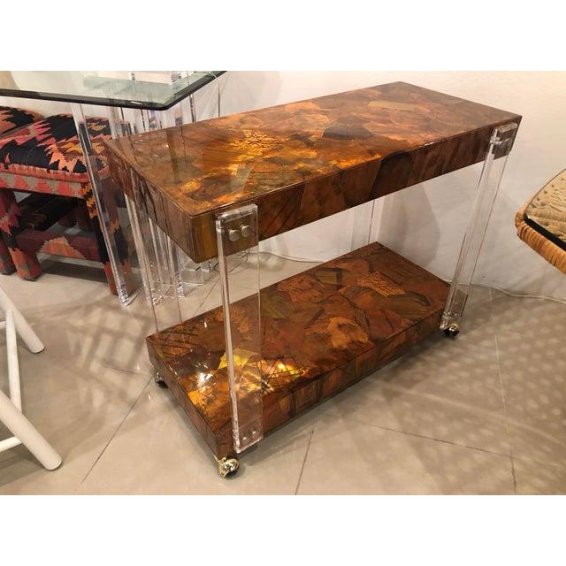 Vintage Brutalist Copper Brass Mixed Metals Patchwork Lucite Bar Cart For Sale - Image 13 of 13