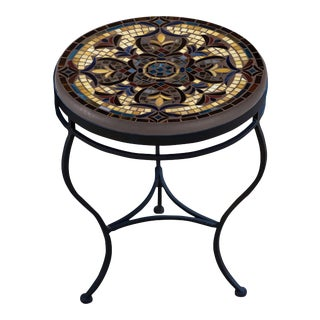 """Almirante 18"""" Side Table with Black Base For Sale"""