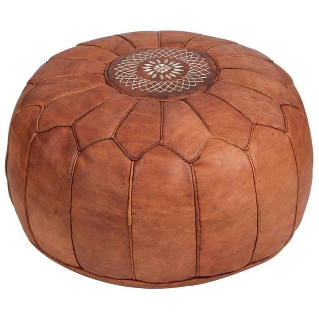 Pair of large vintage round Moroccan leather poufs, handcrafted in camel leather. Hand tooled and embroidered on the top...