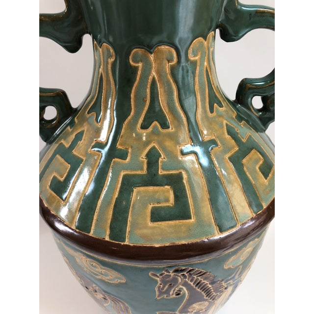 Tall Green Vintage Ming Horses Decorative Vase For Sale - Image 4 of 8