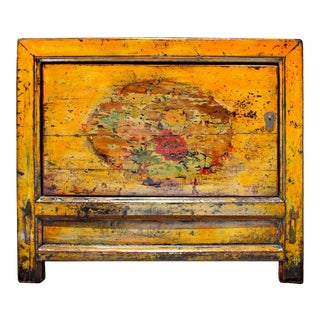 Chinese Gansu Style Distressed Orange Yellow Flower Console Cabinet For Sale