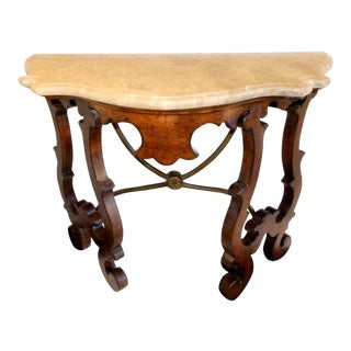 20th Century Spanish Colonial Stone Top Harp Leg Demi-Lune Table For Sale