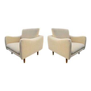 "j.a Motte for Steiner Pair of Lounge Chair Model ""Teckel"" Newly Reupholstered"