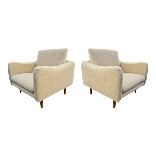 """j.a Motte for Steiner Pair of Lounge Chair Model """"Teckel"""" Newly Reupholstered For Sale"""