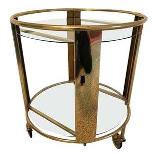 Striking Italian Modernist Design Round Polished Brass Bart Cart For Sale