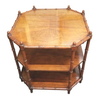 1970s Chinoiserie Walnut Regency Style Faux Bamboo Turned End Table With 3 Tiers. For Sale