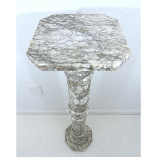 Stone Vintage Italian Grey and White Marble Column or Pillar For Sale - Image 7 of 8
