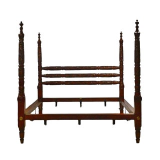 Late 20th Century Americana Ralph Lauren King Solid Mahogany Poster Bed For Sale