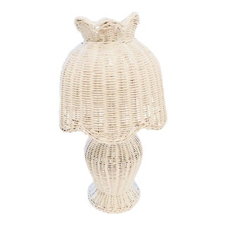 Vintage Cottage Style White Wicker Lamp For Sale
