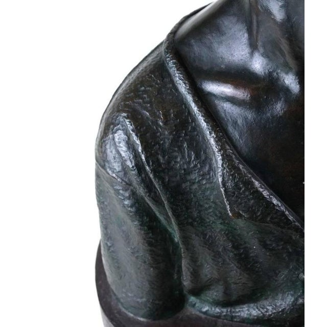 Art Deco Life Sized Cast Bronze Young Boy Bust on Oval Base For Sale - Image 3 of 8