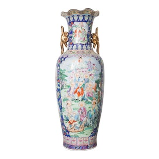Large Baluster Floor Vase of Chinese Canton Famille for European Market For Sale
