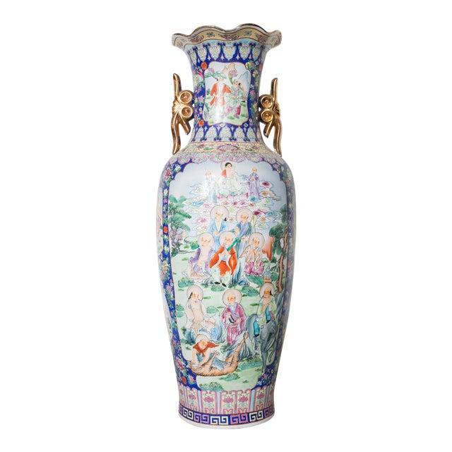 Large Baluster Floor Vase of Chinese Canton Famille for European Market For Sale