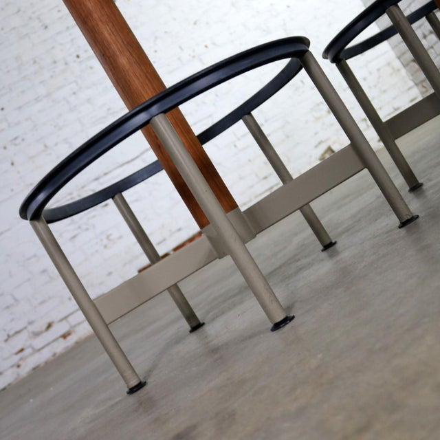 Pair of Burke Swivel Bar Stools Mid Century Modern Fiberglass Shell and Upholstered Seat Pads For Sale - Image 12 of 13