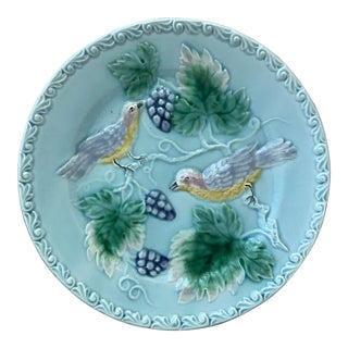German Majolica Birds and Grapes Plate, Circa 1900 For Sale