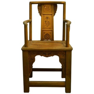 19th Century Chinese Lacquered Carved Elmwood Chair with Traditional Motifs For Sale