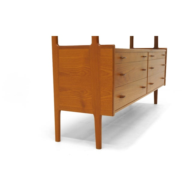 Hans Wegner Wall Unit, Room Divider or Sideboard, Rare Teak and Cane Version For Sale - Image 9 of 10