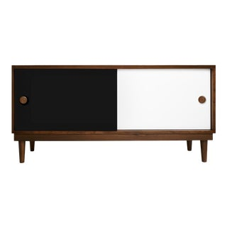 Lukka Modern Kids Credenza Console in Walnut With Black Finish For Sale
