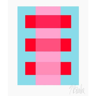 "Pink Through Red on Turquoise Fine Art Print 30"" X 40"" by Liz Roache For Sale"