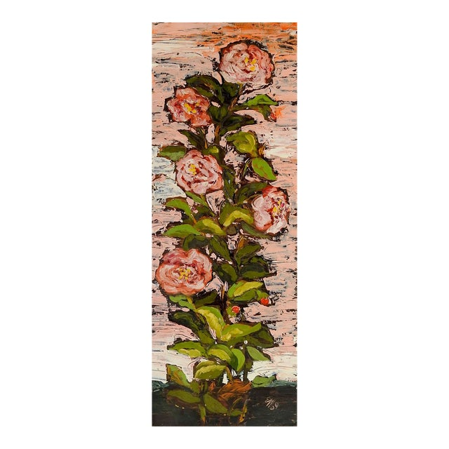 1960's Modernist Pink Roses Oil Painting For Sale
