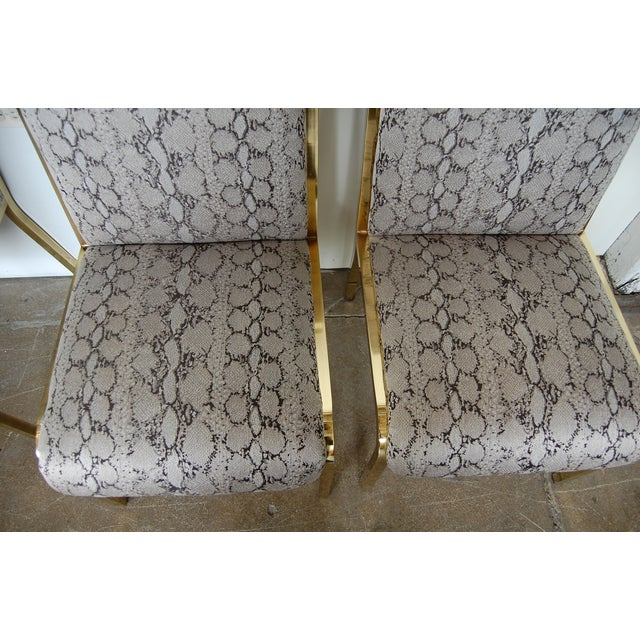 Python & Brass Vintage Dining Chairs - Set of 4 - Image 6 of 11