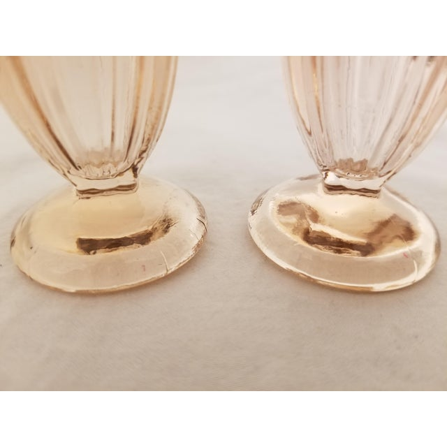Early 20th Century Vintage Art Deco Pressed Pink Glass Footed Salt and Pepper Shakers - a Pair For Sale - Image 5 of 8