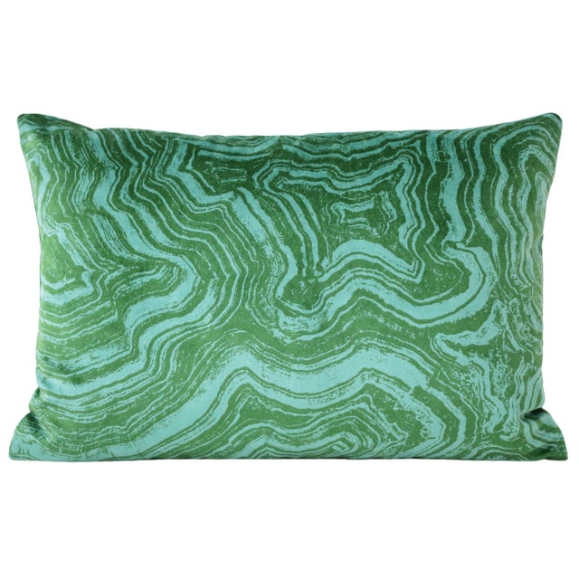 Pair of custom-made pillows in a lustrous Malachite Velvet in the emerald colorway. Meticulously handcrafted with serged...
