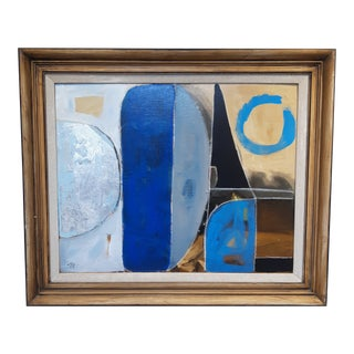 Abstract in Silver and Blue Painting For Sale