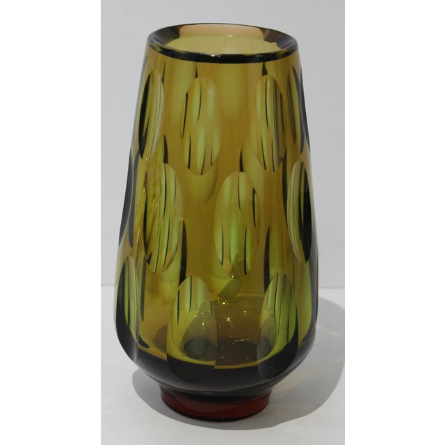 1960s Mid-Century Modern Swedish Vase With Optic Ovals - Smokey Olive Green For Sale - Image 5 of 12