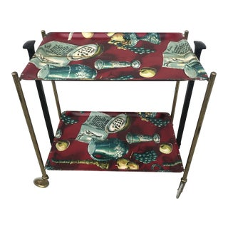 1960s German Still Life Print Bar Cart For Sale