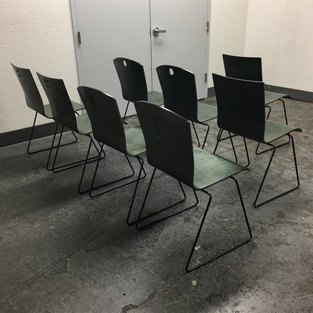 Leland International Green Stackable Chairs - Set of 8 For Sale In San Francisco - Image 6 of 11