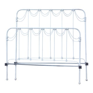 Vintage Victorian Wrought Iron Full Bed Frame For Sale