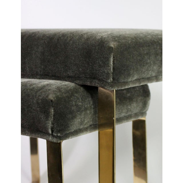 Contemporary Hollywood Regency Brass & Vintage Sage Green Alpaca Mohair Bench - Large For Sale - Image 3 of 6