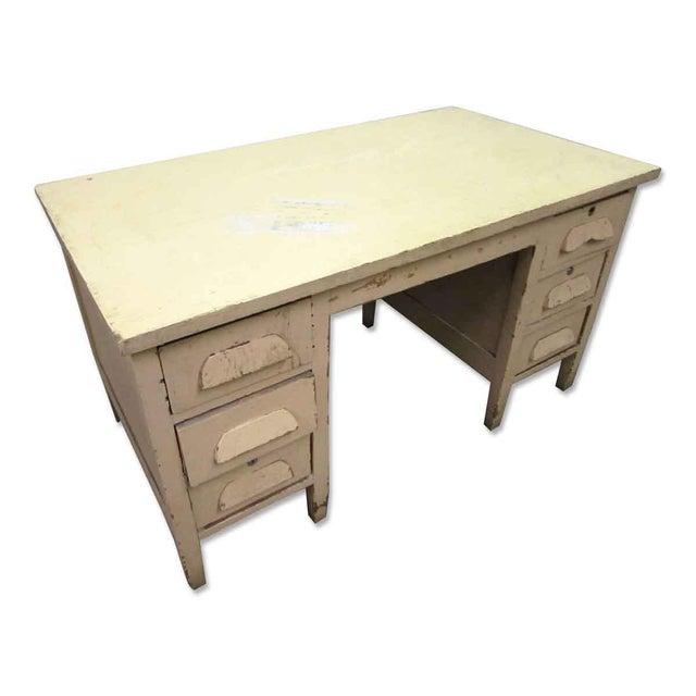 Shabby Chic Vintage Six Drawer Oak Wood Desk For Sale - Image 3 of 8
