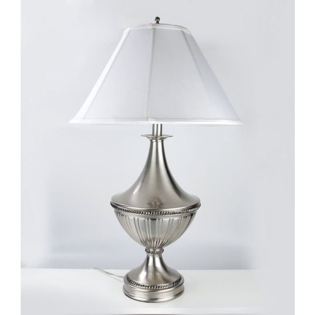 Stiffel Metal Table Lamp & Cotton Shade - Image 2 of 11